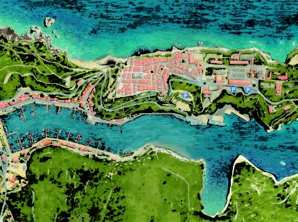 Parkings, services, ville de Bonifacio, Corse