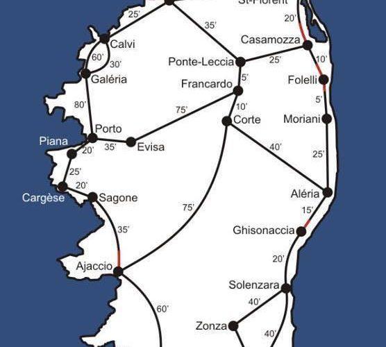 Dauer der Autofahrten auf Korsika