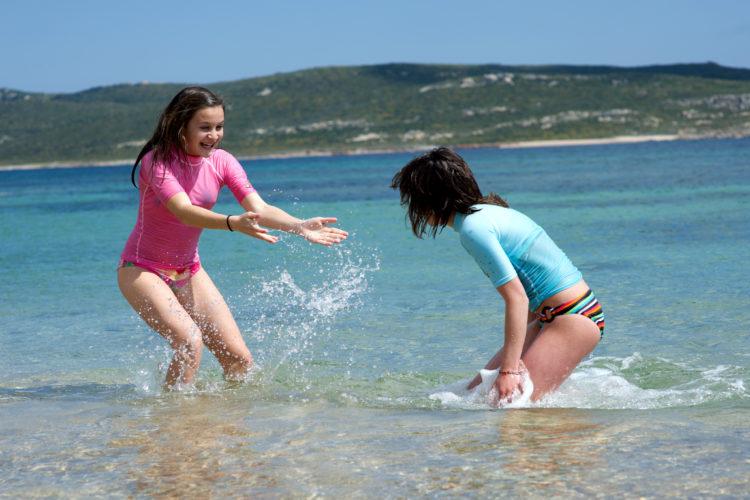 Plage, Tunara, famille, Bonifacio, Corse
