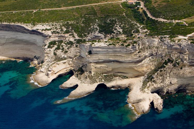 Plage, trois pointes, falaise, Bonifacio, Corse