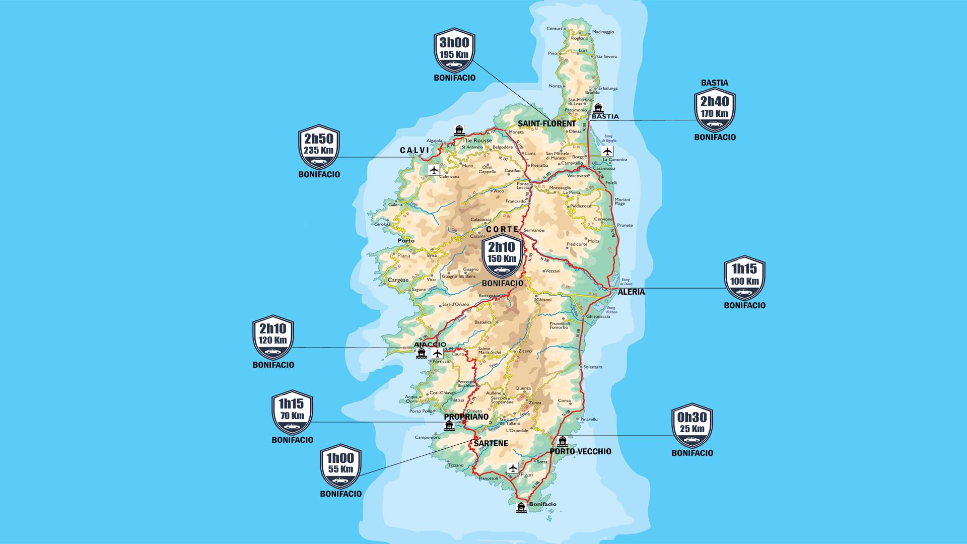 Carte Corse Avec Distance.Distance Entre Les Villes De Corse Trajet En Voiture Ot